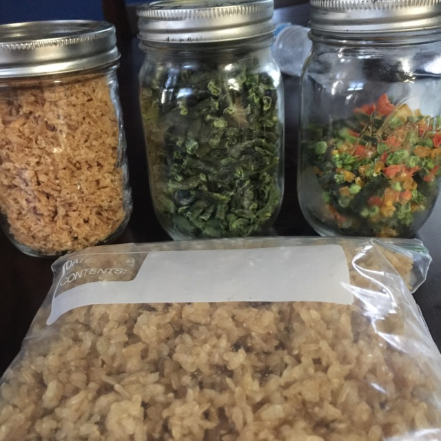 Jars of dehydrated food