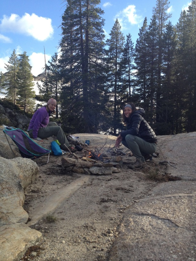 Taylor and I soak up the warmth of our fire. Photo: Jessica Cortes